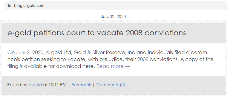 e-gold is still fighting US govt sanctions from 2008
