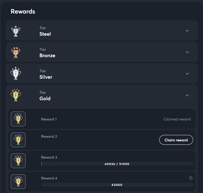 SportsBet.io allows you to claim rewards when you go up a level.